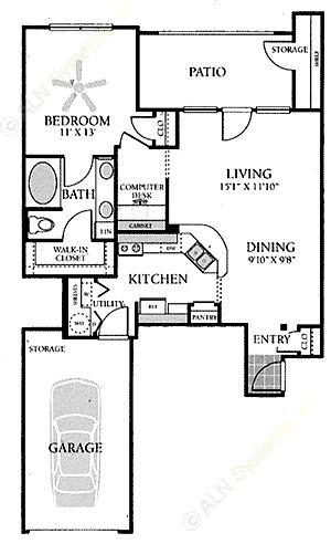 813 sq. ft. A4G floor plan