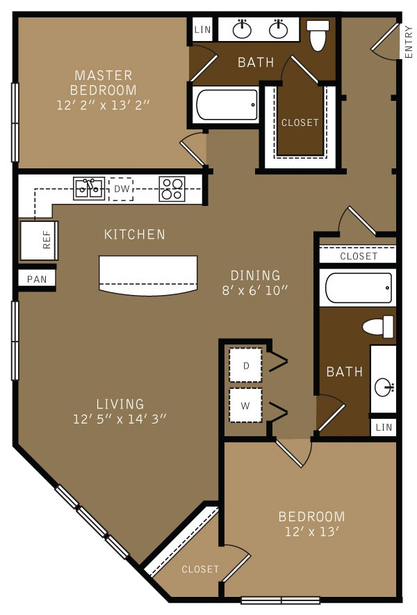 1,306 sq. ft. B2 (I) floor plan