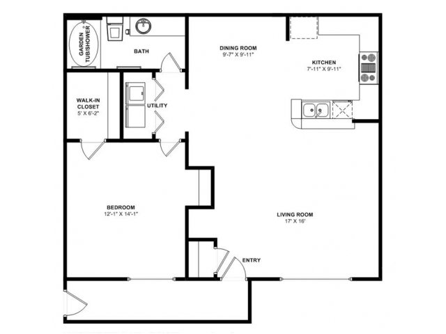 810 sq. ft. Evergreen floor plan