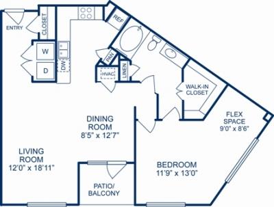 1,012 sq. ft. NEWARK floor plan