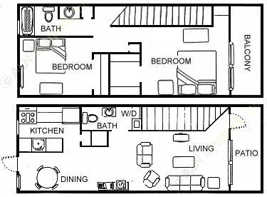 950 sq. ft. B3 floor plan