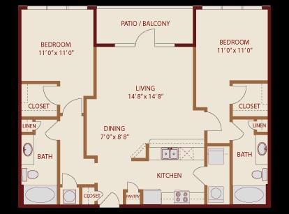1,067 sq. ft. Oasis floor plan