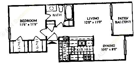 640 sq. ft. A-1/60% floor plan
