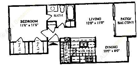 640 sq. ft. A-1/60% floor plan