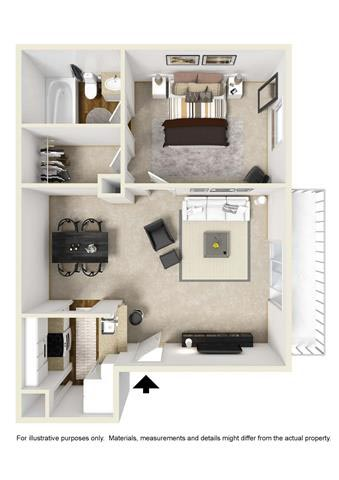 539 sq. ft. B1 floor plan