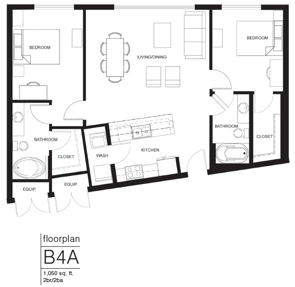 1,050 sq. ft. B4A floor plan