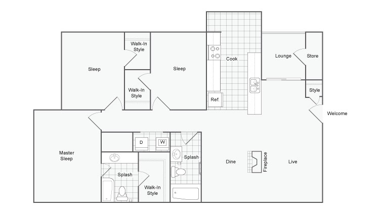 1,304 sq. ft. Royal floor plan