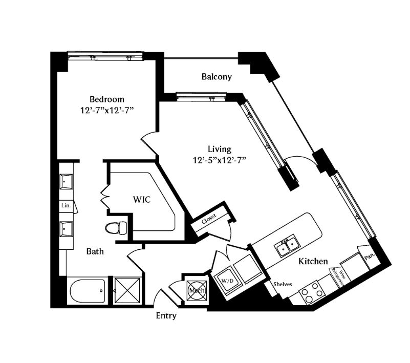 905 sq. ft. A5 floor plan