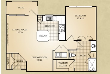 866 sq. ft. Blanco floor plan
