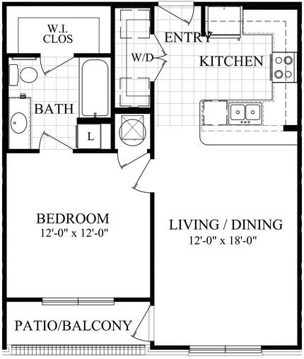 676 sq. ft. A1.1/A1.2 floor plan