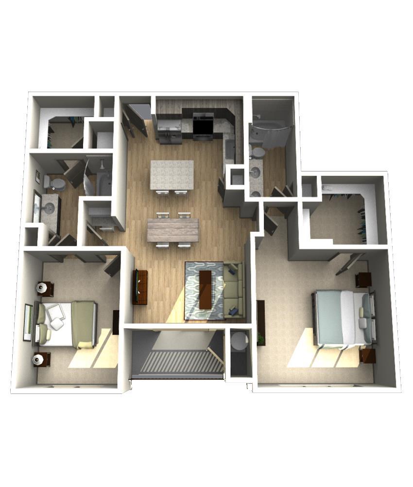 1,184 sq. ft. B3 floor plan