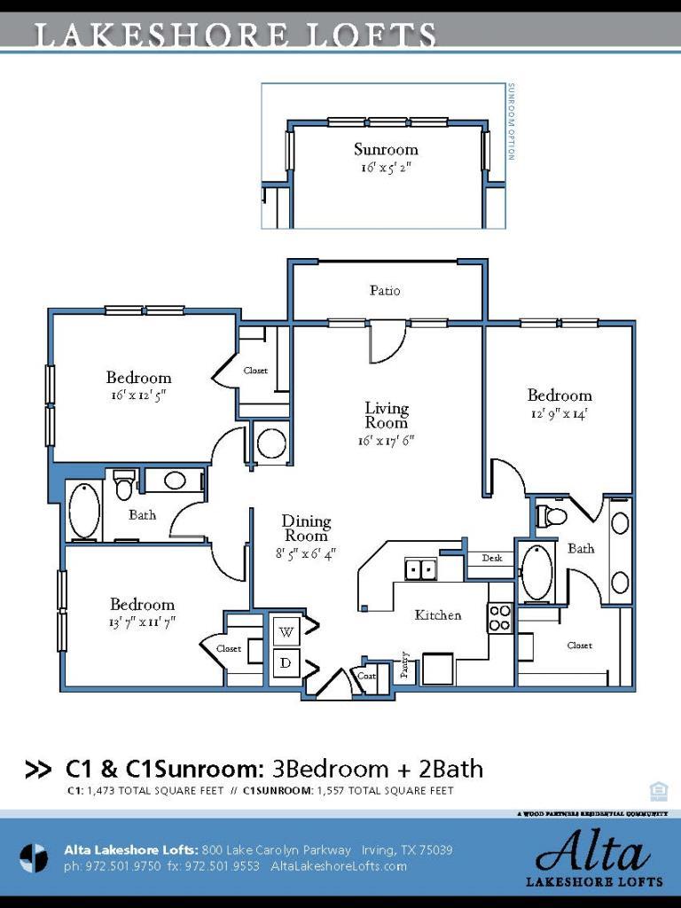 1,557 sq. ft. C1.1 floor plan
