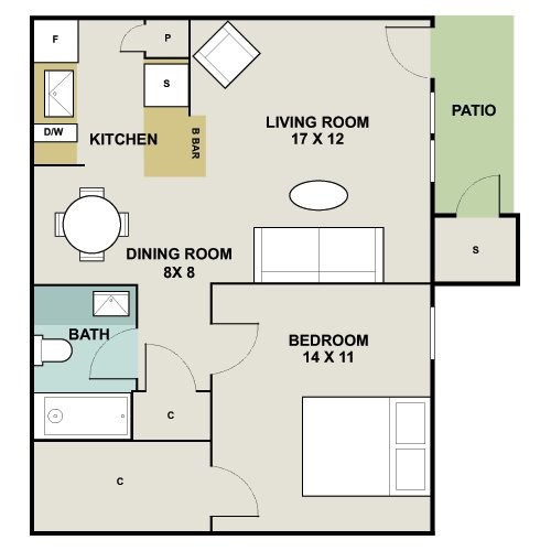 658 sq. ft. A1 floor plan