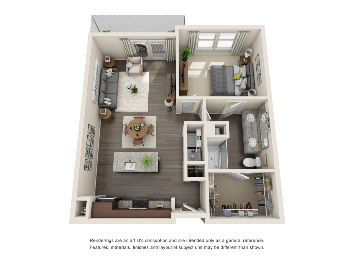 792 sq. ft. A7 floor plan
