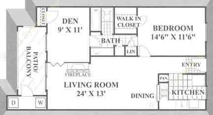 855 sq. ft. A3 floor plan