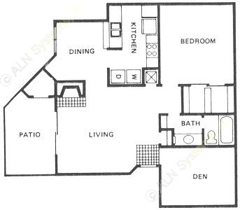 963 sq. ft. A5 floor plan