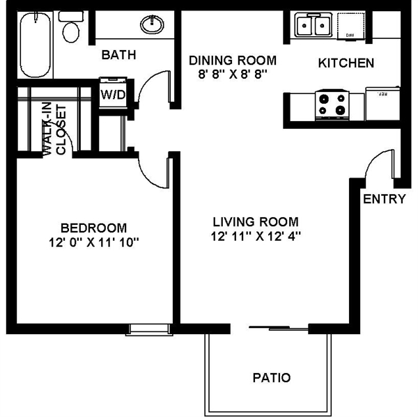 661 sq. ft. A-2 floor plan