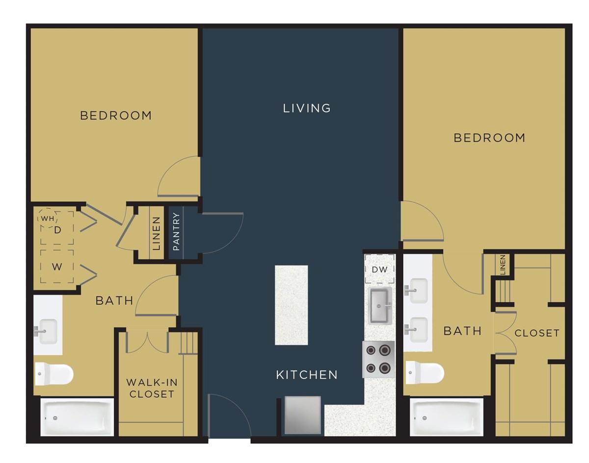 1,102 sq. ft. B2 floor plan