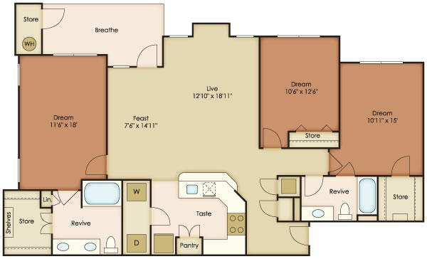 1,488 sq. ft. Caliza floor plan