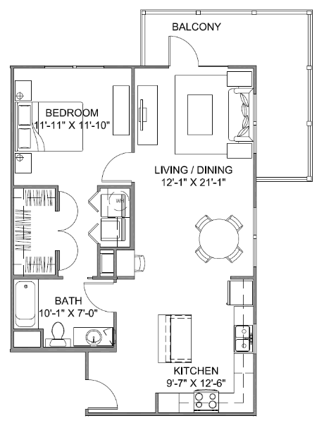 838 sq. ft. Boulevard B 60 floor plan