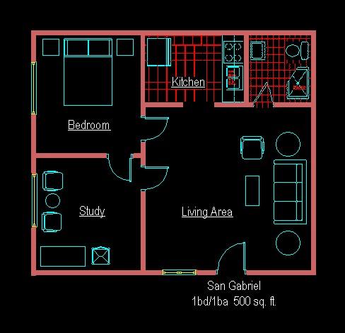 500 sq. ft. D floor plan