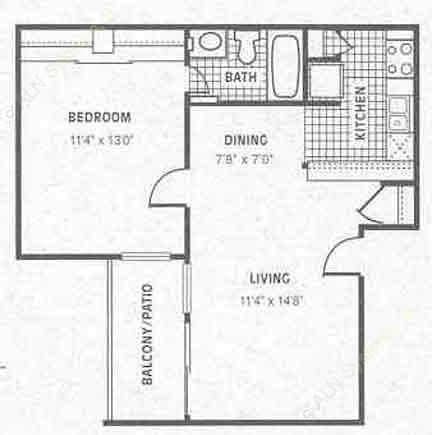 570 sq. ft. A2 floor plan