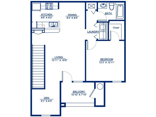 909 sq. ft. A3D floor plan