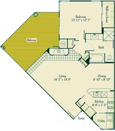 881 sq. ft. A3 floor plan