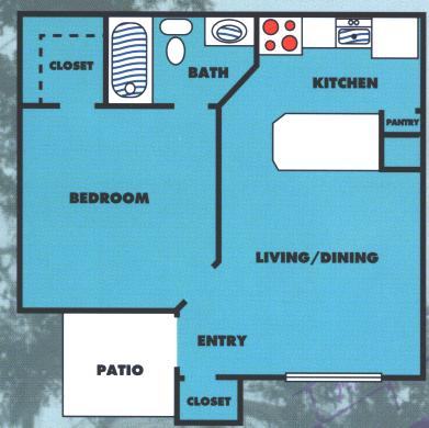 500 sq. ft. 1A floor plan