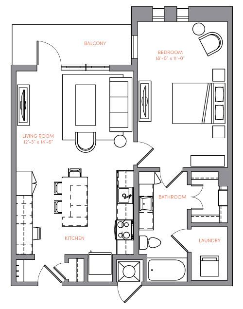 815 sq. ft. A1B floor plan