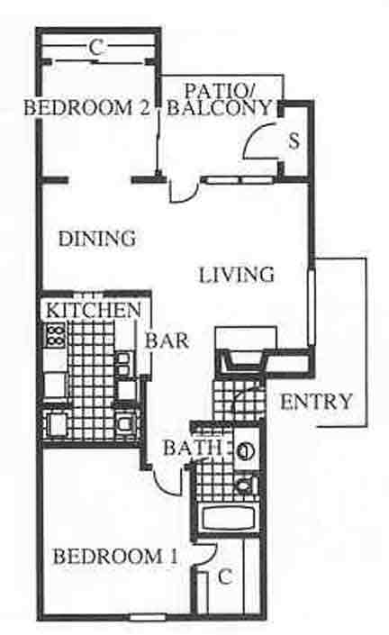 814 sq. ft. A4 floor plan