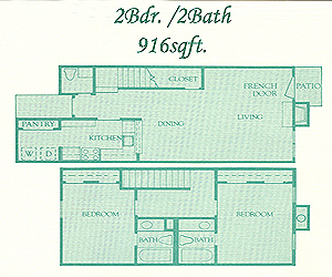 916 sq. ft. Brighton floor plan