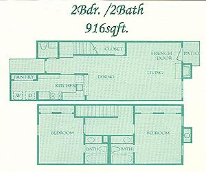 916 sq. ft. Brighton floor plan