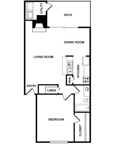 821 sq. ft. Orion floor plan