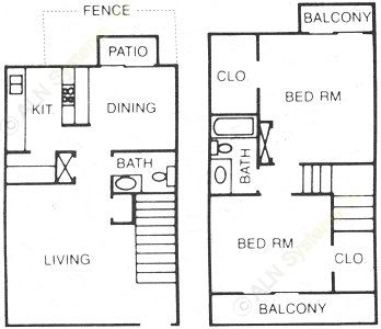 1,008 sq. ft. ET floor plan