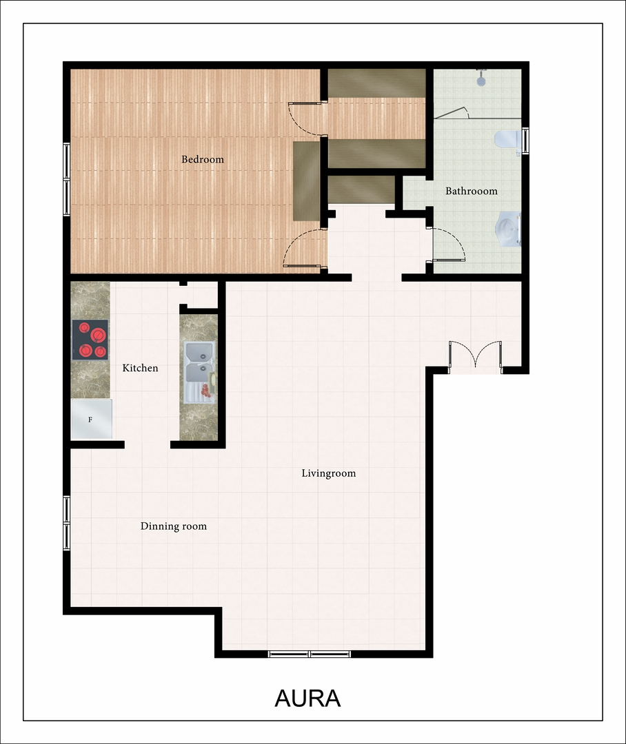 741 sq. ft. Aura floor plan