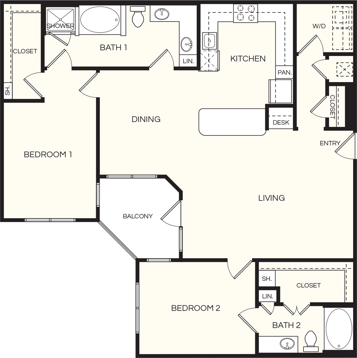 1,438 sq. ft. B3 floor plan