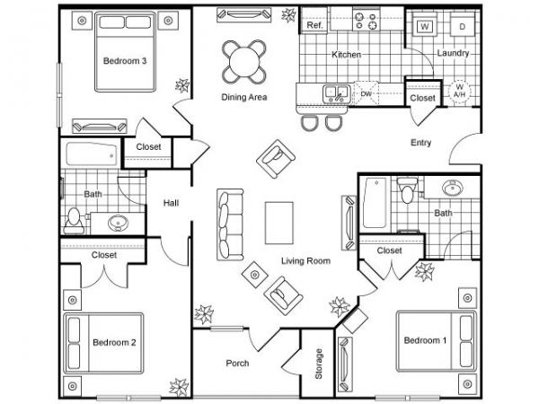 1,185 sq. ft. Cigar/60% floor plan