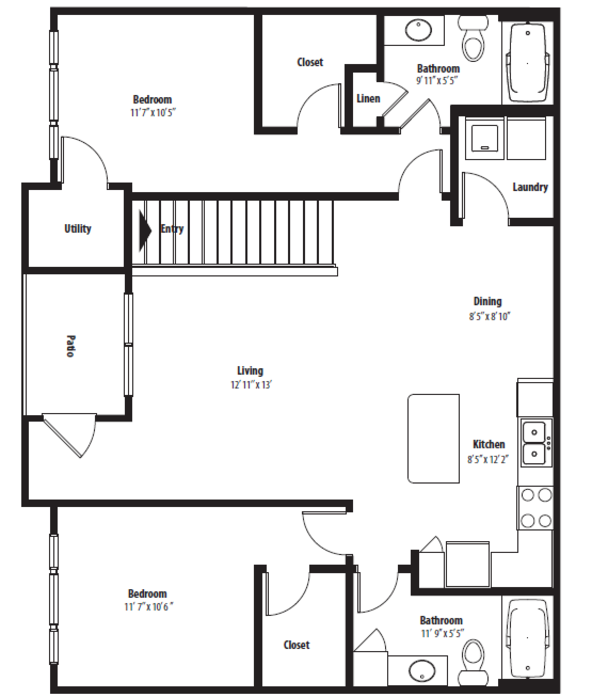 1,186 sq. ft. B2UG floor plan