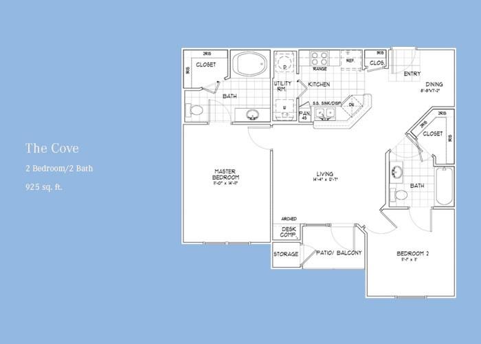 925 sq. ft. Cove floor plan