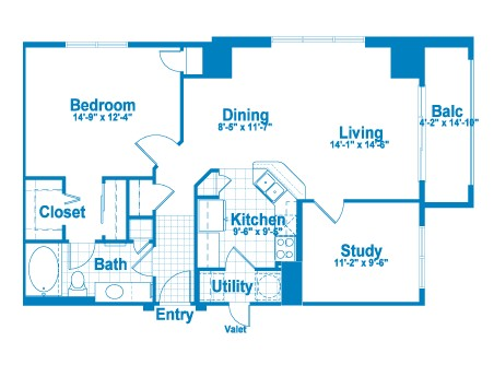 980 sq. ft. AT2 floor plan