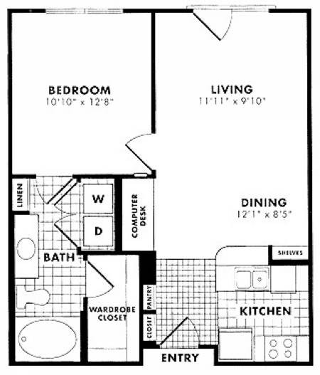 594 sq. ft. to 724 sq. ft. A1 floor plan