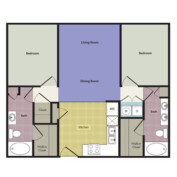 1,034 sq. ft. to 1,141 sq. ft. Trapani floor plan