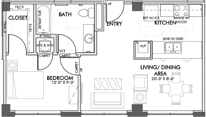625 sq. ft. Throckmorton floor plan
