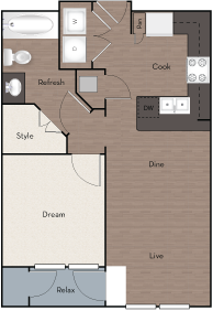 606 sq. ft. A3 floor plan