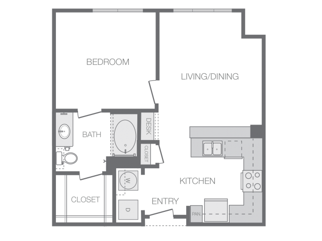 631 sq. ft. A floor plan