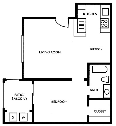 531 sq. ft. B floor plan