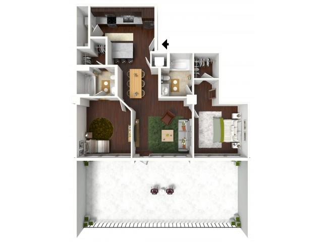 1,001 sq. ft. Diamond Suite floor plan