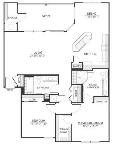 1,267 sq. ft. B3 floor plan