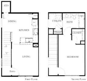 824 sq. ft. A1/50% floor plan